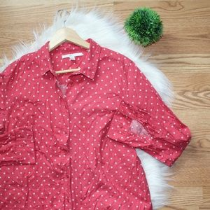 LC Lauren Conrad Pink Polka Dot Button Up XL